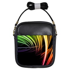 Colorful Abstract Fantasy Modern Green Gold Purple Light Black Line Girls Sling Bags by Mariart
