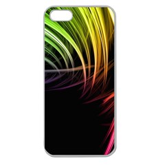 Colorful Abstract Fantasy Modern Green Gold Purple Light Black Line Apple Seamless Iphone 5 Case (clear) by Mariart