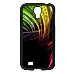 Colorful Abstract Fantasy Modern Green Gold Purple Light Black Line Samsung Galaxy S4 I9500/ I9505 Case (black) by Mariart