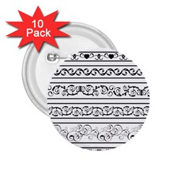 Black White Decorative Ornaments 2 25  Buttons (10 Pack)