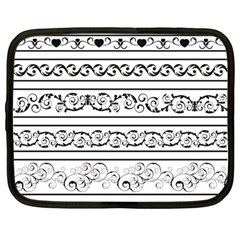 Black White Decorative Ornaments Netbook Case (large) by Mariart