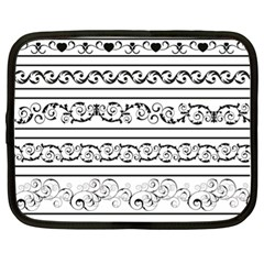Black White Decorative Ornaments Netbook Case (xl)  by Mariart