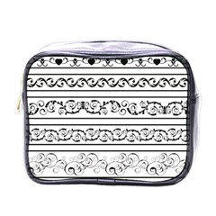 Black White Decorative Ornaments Mini Toiletries Bags by Mariart