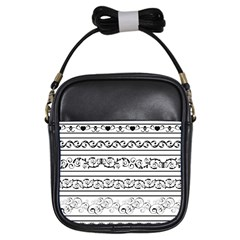 Black White Decorative Ornaments Girls Sling Bags by Mariart