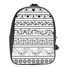 Black White Decorative Ornaments School Bags (xl)  by Mariart