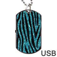 Skin4 Black Marble & Blue Green Water Dog Tag Usb Flash (two Sides) by trendistuff
