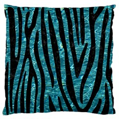 Skin4 Black Marble & Blue Green Water Large Flano Cushion Case (one Side) by trendistuff