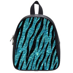 Skin3 Black Marble & Blue Green Water (r) School Bag (small) by trendistuff