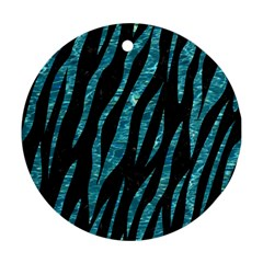 Skin3 Black Marble & Blue Green Water Round Ornament (two Sides) by trendistuff