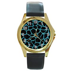 Skin1 Black Marble & Blue Green Water (r) Round Gold Metal Watch by trendistuff