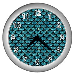 Scales3 Black Marble & Blue Green Water (r) Wall Clock (silver) by trendistuff