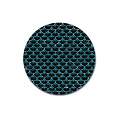 Scales3 Black Marble & Blue Green Water Magnet 3  (round) by trendistuff