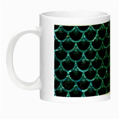 Scales3 Black Marble & Blue Green Water Night Luminous Mug by trendistuff