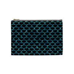 Scales3 Black Marble & Blue Green Water Cosmetic Bag (medium) by trendistuff