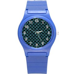 Scales3 Black Marble & Blue Green Water Round Plastic Sport Watch (s) by trendistuff