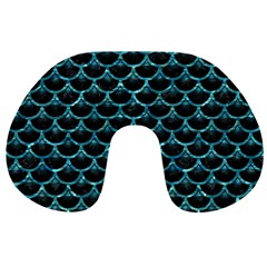 Scales3 Black Marble & Blue Green Water Travel Neck Pillow by trendistuff