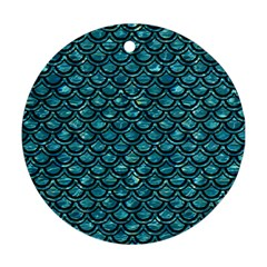 Scales2 Black Marble & Blue Green Water (r) Round Ornament (two Sides) by trendistuff