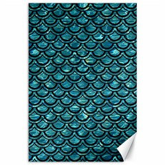 Scales2 Black Marble & Blue Green Water (r) Canvas 12  X 18  by trendistuff