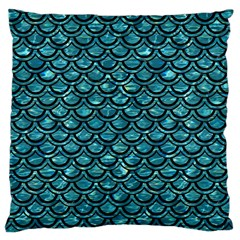 Scales2 Black Marble & Blue Green Water (r) Large Cushion Case (one Side) by trendistuff