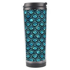 Scales2 Black Marble & Blue Green Water (r) Travel Tumbler by trendistuff