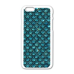 Scales2 Black Marble & Blue Green Water (r) Apple Iphone 6/6s White Enamel Case by trendistuff