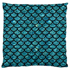 Scales1 Black Marble & Blue Green Water (r) Large Cushion Case (two Sides) by trendistuff