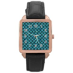 Scales1 Black Marble & Blue Green Water (r) Rose Gold Leather Watch  by trendistuff