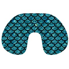Scales1 Black Marble & Blue Green Water (r) Travel Neck Pillow by trendistuff