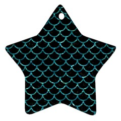 Scales1 Black Marble & Blue Green Water Ornament (star)