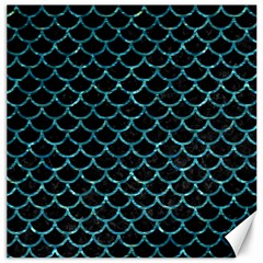 Scales1 Black Marble & Blue Green Water Canvas 16  X 16  by trendistuff