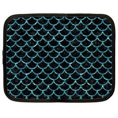 Scales1 Black Marble & Blue Green Water Netbook Case (xl) by trendistuff