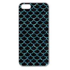Scales1 Black Marble & Blue Green Water Apple Seamless Iphone 5 Case (clear) by trendistuff