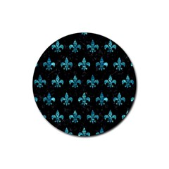 Royal1 Black Marble & Blue Green Water (r) Rubber Coaster (round) by trendistuff