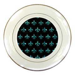 Royal1 Black Marble & Blue Green Water (r) Porcelain Plate by trendistuff