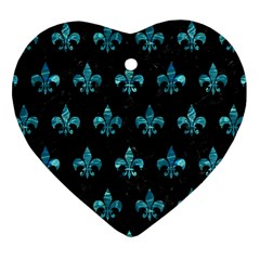 Royal1 Black Marble & Blue Green Water (r) Heart Ornament (two Sides)