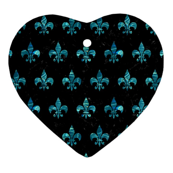 ROYAL1 BLACK MARBLE & BLUE-GREEN WATER (R) Heart Ornament (Two Sides)