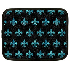 Royal1 Black Marble & Blue Green Water (r) Netbook Case (xl) by trendistuff