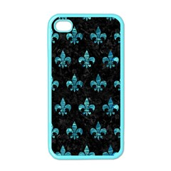 Royal1 Black Marble & Blue Green Water (r) Apple Iphone 4 Case (color) by trendistuff