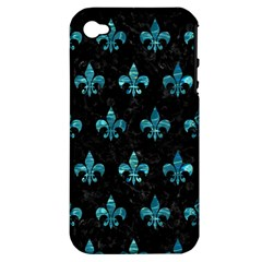 Royal1 Black Marble & Blue Green Water (r) Apple Iphone 4/4s Hardshell Case (pc+silicone) by trendistuff