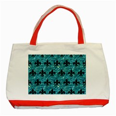 Royal1 Black Marble & Blue Green Water Classic Tote Bag (red) by trendistuff