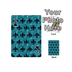 Royal1 Black Marble & Blue Green Water Playing Cards 54 (mini) by trendistuff