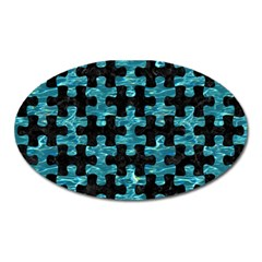 Puzzle1 Black Marble & Blue Green Water Magnet (oval)