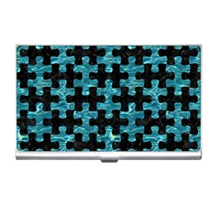 Puzzle1 Black Marble & Blue Green Water Business Card Holder by trendistuff