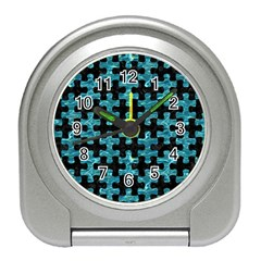 Puzzle1 Black Marble & Blue Green Water Travel Alarm Clock by trendistuff