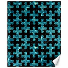 Puzzle1 Black Marble & Blue Green Water Canvas 11  X 14  by trendistuff