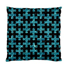 Puzzle1 Black Marble & Blue Green Water Standard Cushion Case (two Sides) by trendistuff
