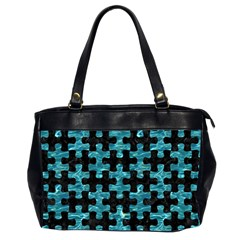 Puzzle1 Black Marble & Blue Green Water Oversize Office Handbag (2 Sides) by trendistuff