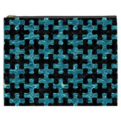 Puzzle1 Black Marble & Blue Green Water Cosmetic Bag (xxxl) by trendistuff