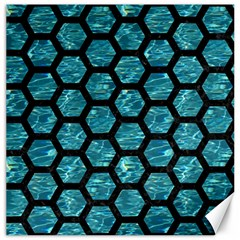 Hexagon2 Black Marble & Blue Green Water (r) Canvas 20  X 20  by trendistuff
