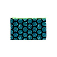 Hexagon2 Black Marble & Blue Green Water (r) Cosmetic Bag (xs) by trendistuff